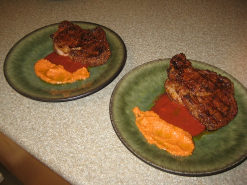 Chili-spice Crusted Rib-Eye steaks with Homemade Steak Sauce and Roasted Red Pepper Sauce