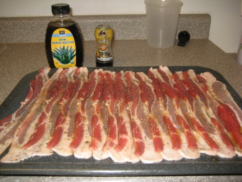 Agave Nectar Glazed Bacon with Fresh Cracked Pepper!