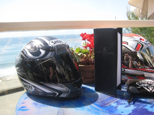Table view with our helmets :), awesome ocean view!
