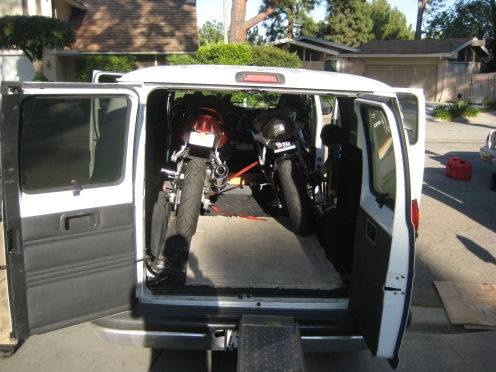 The bikes loaded into the van.