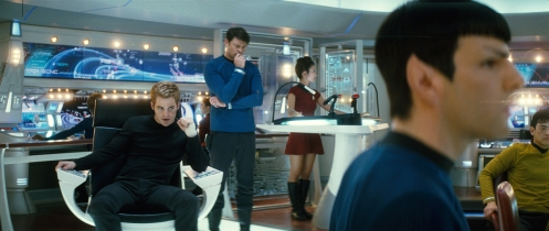 Spock and Kirk on the bridge, everything looks so much better than the older Star Trek!