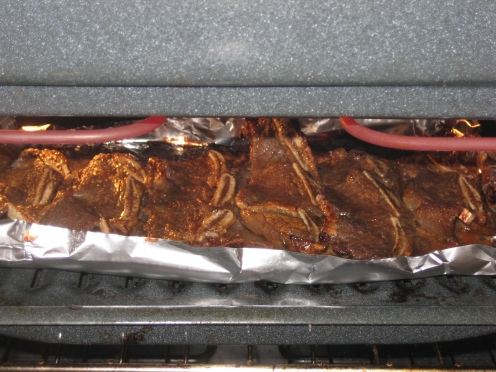 Kalbi in the broiler.