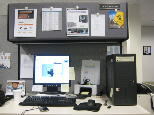 This cubicle owns my soul, you would think after working here for almost a year I'd get a bigger cubicle...