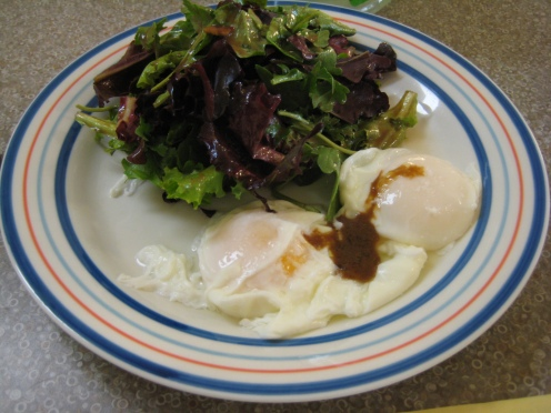 Light and rich poached eggs with an amazing salad!
