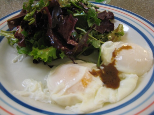 Dress the eggs with some of the truffled balsamic vinaigrette, it cuts through the richness of the yolk beautifully.